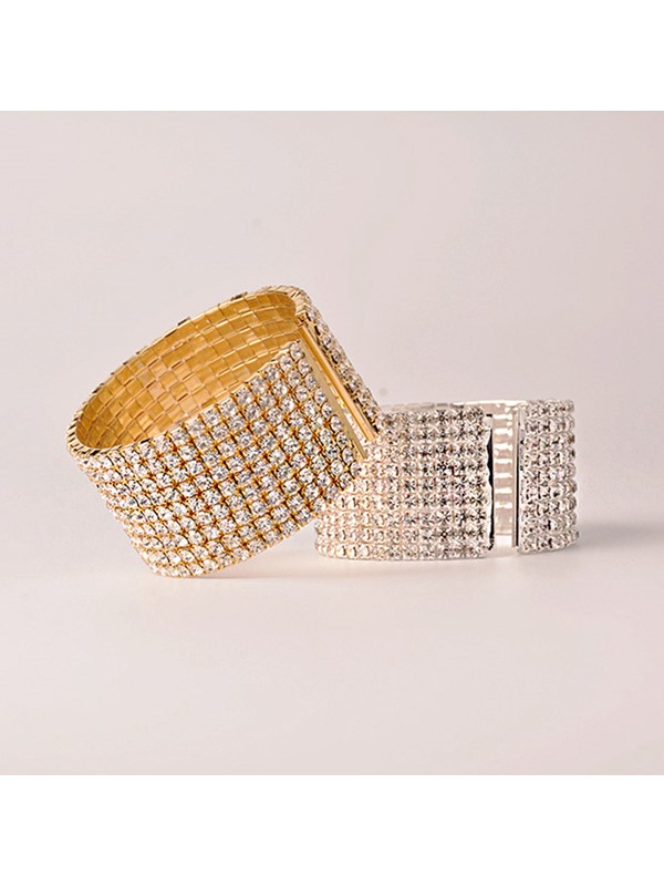 Full Drill Champagne Alloy Wide Simple Opened Bracelets & Bangles