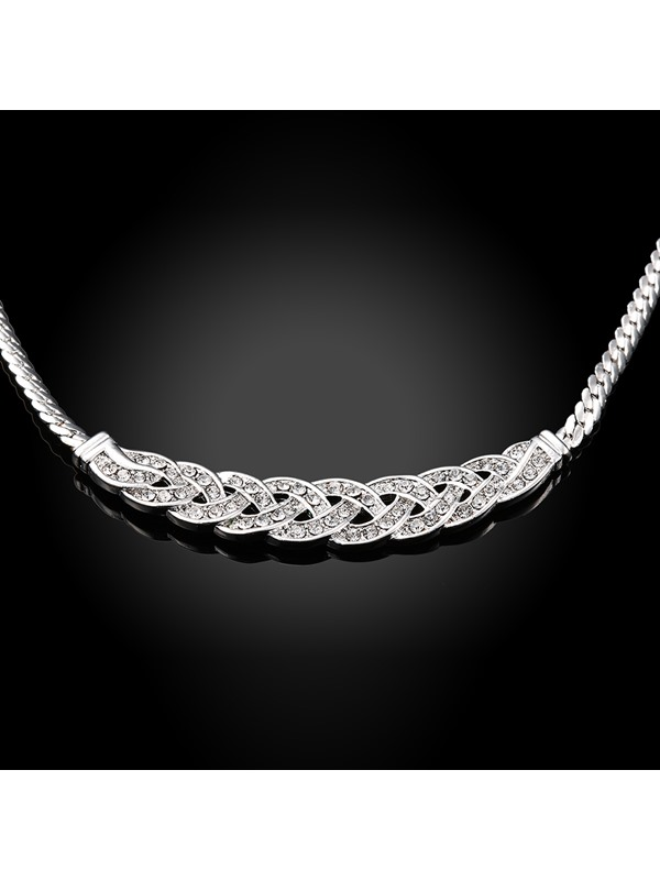Concise Geometric Imitation Diamond Figaro Chain Necklace