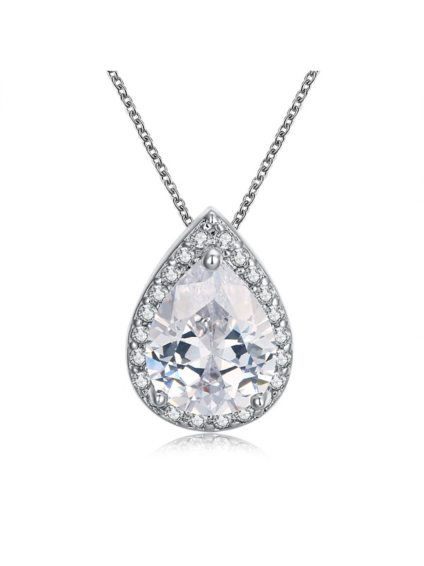 Water Drop Shaped Gemstone Pendant Necklace