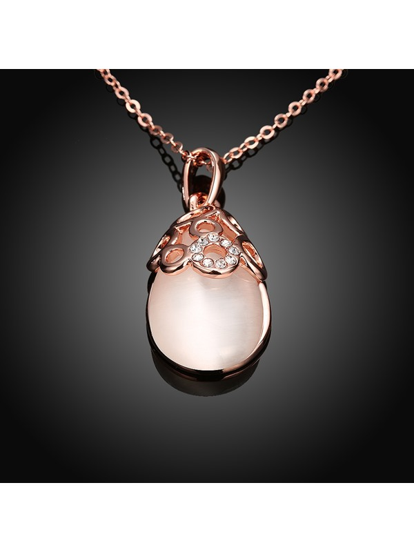 Water Droplets Pink Opal Pendant Necklace