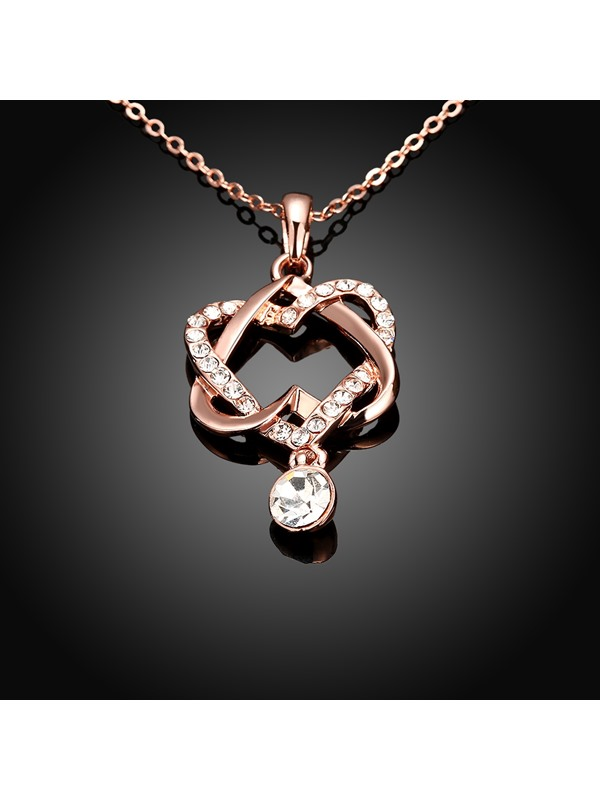 Double Heart-Shaped Hollow Diamante Necklace