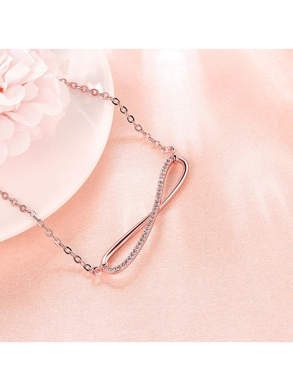 Simple Rose Gold Eight-Shaped Diamante Necklace