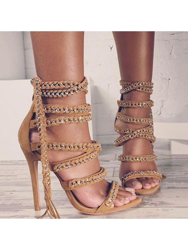 Chain Tassel Open Toe Heel Sandals