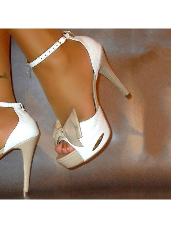 Color Block Bowtie Stiletto Heel Sandals