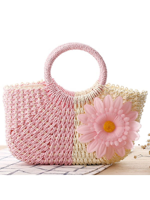 Sweety Color Block Zipper Knitted Fabric Bag