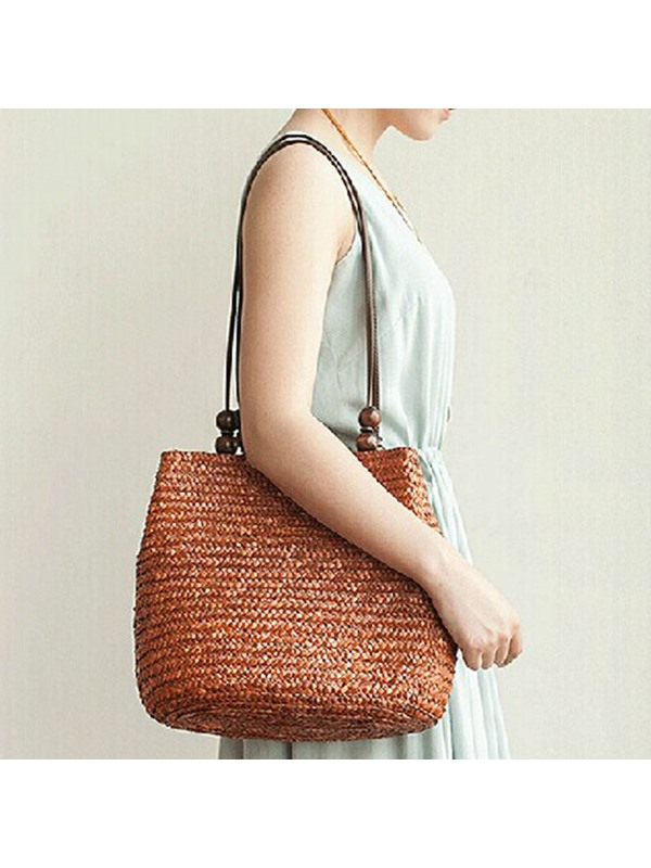 Simply Wooden Bead Decorated Knitted Shoulder Bag