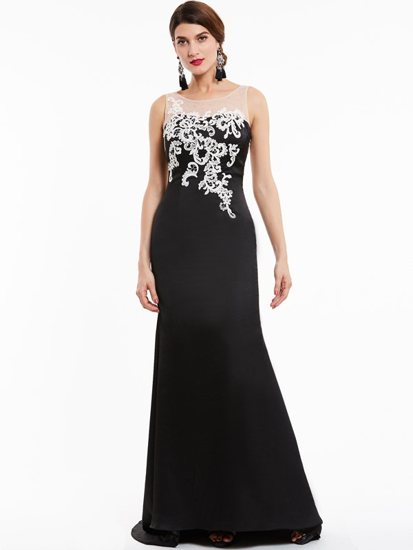 Charming Scoop Neck Appliques Mermaid Evening Dress