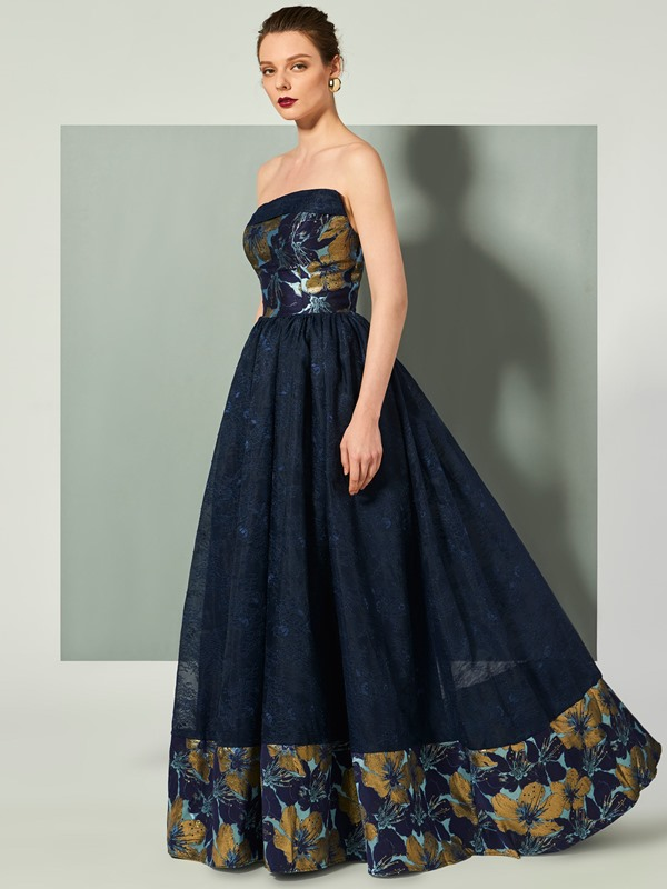 Unique Strapless A-Line Finished Fabric Floor-Length Evening Dress