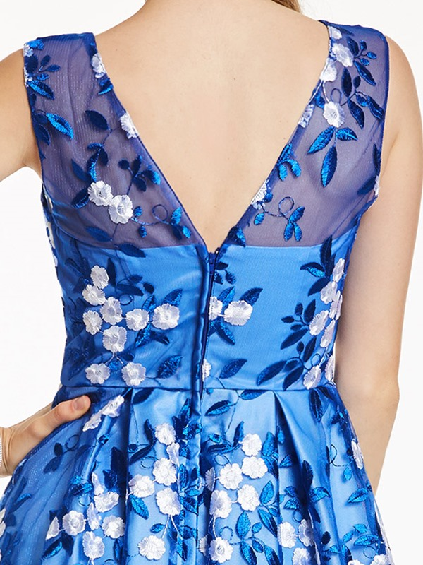 Nice Scoop Neck Zipper-Up A Line Prom Dresss