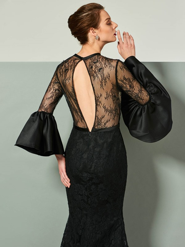 Trendy Mermaid Jewel Trumpet Sleeves Lace Court Train Evening Dress