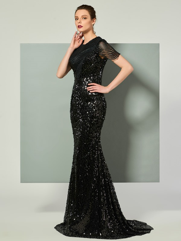 Modish Mermaid Scoop Cap Sleeves Lace Sequins Brush Train Evening Dress