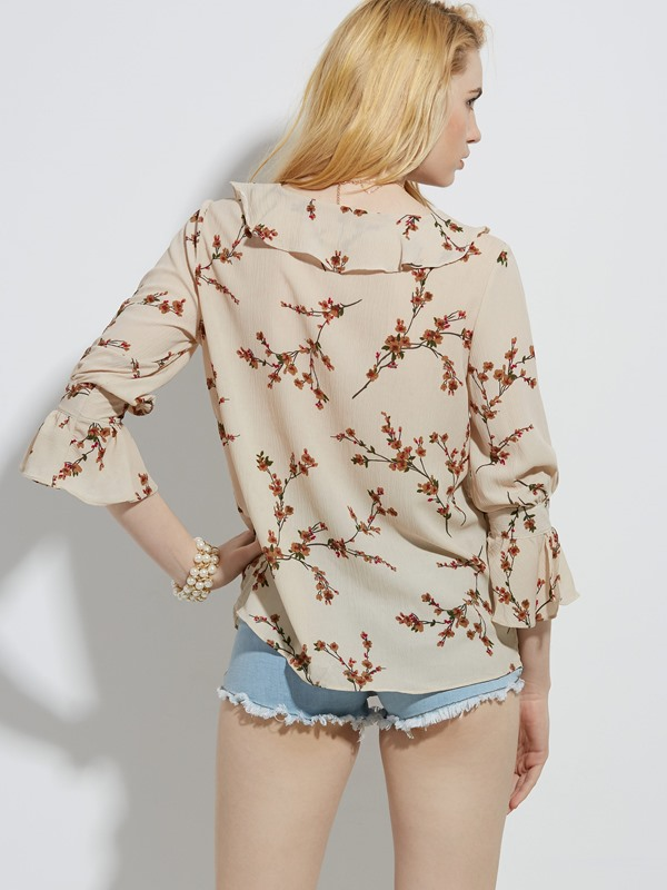 Falbala Patchwork Flower Print Flare Sleeve Blouse