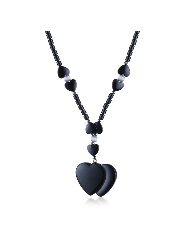 Double Heart-Shaped Pendant Necklace