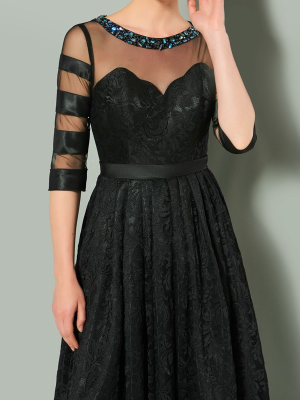 Unique Half Sleeves Jewel A-Line Beaded Lace Evening Dress