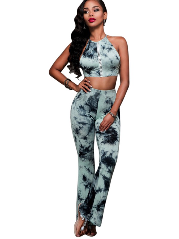 Tie-Dye Backless Vest &Bellbottoms Pants 2-Piece Sets
