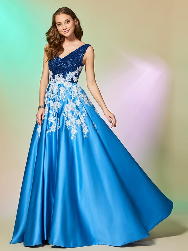Exquisite A-Line Appliques Sleeveless Lace Sequins Floor-Length Evening Dress