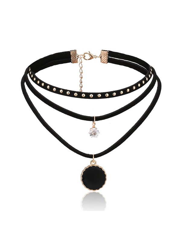 Round Alloy Pendant Choker Necklace Threelayers