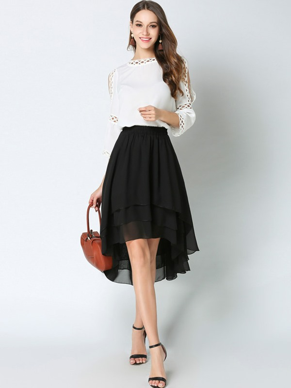 High Waist Chiffon Asymmetric Pleated Mid-Calf Women's Skirt