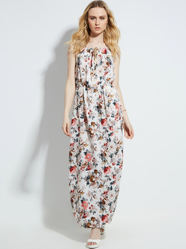 Drawstring Sleeveless Flower Print Women's Maxi Dress
