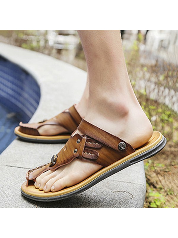 PU Thong Slip-On Sandals for Men
