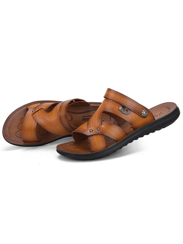 PU Open Toe Slip-On Discount Men's Sandals