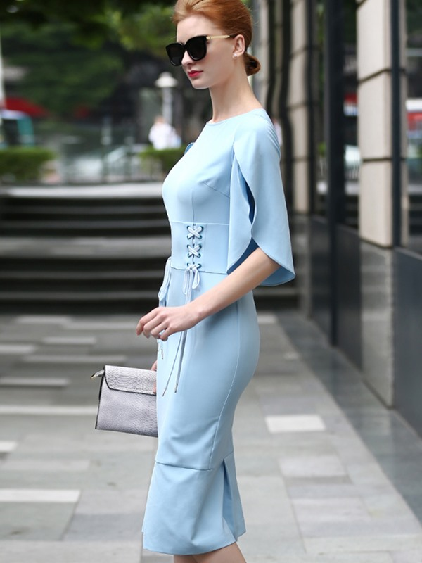 Fashion Pure Color Short Sleeve Bodycon Dress