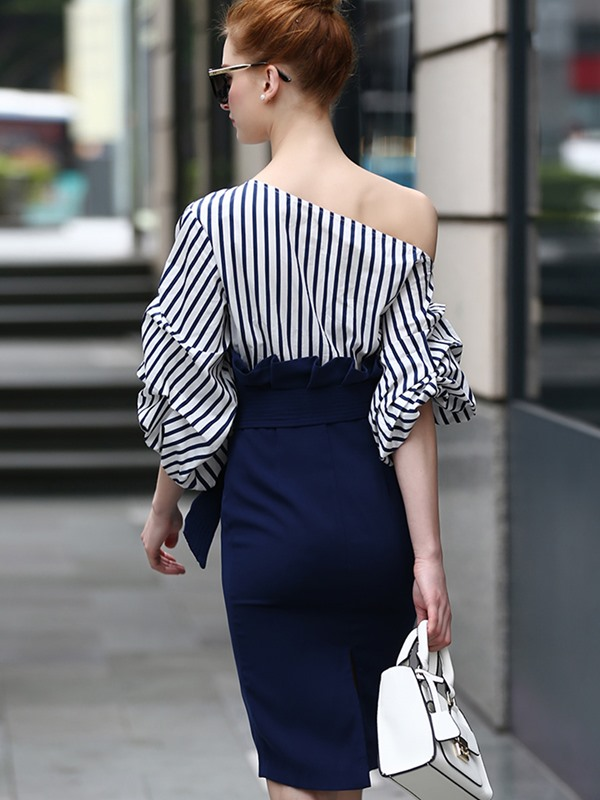 Off Shoulder Stripe Women's Bodycon Dress