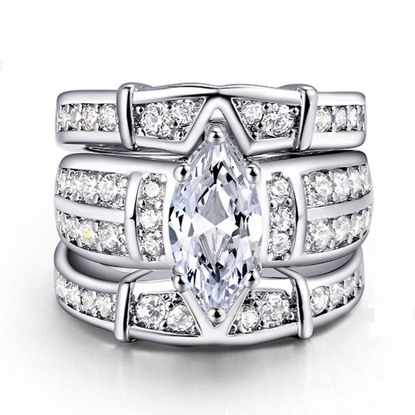 Marquise Cut Zircon Design Three Layers Wedding Ring