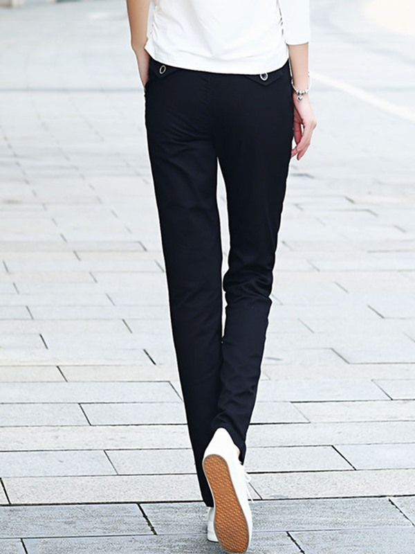 Plain Lace-Up Straight Casual Pants