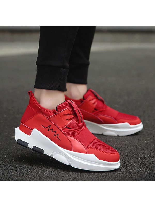 Mesh Patchwork Lace-Up Sneakers for Men