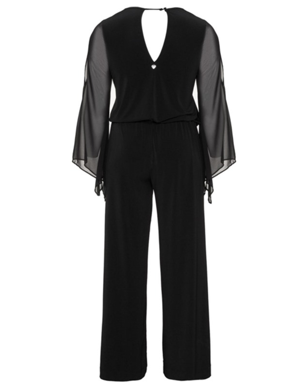 Slim Mesh Hollow Backless Straight Women's Jumpsuit