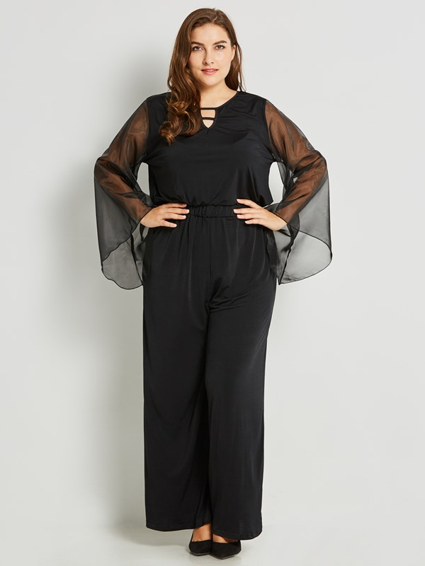 Slim Mesh Hollow Backless Straight Jumpsuit