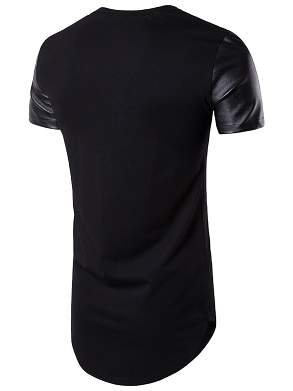 PU Patchwork Mid-Length Men's Casual T-shirt