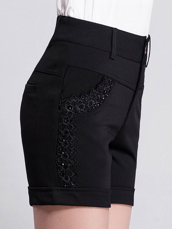 High-Waist Lace Patchwork Straight Shorts