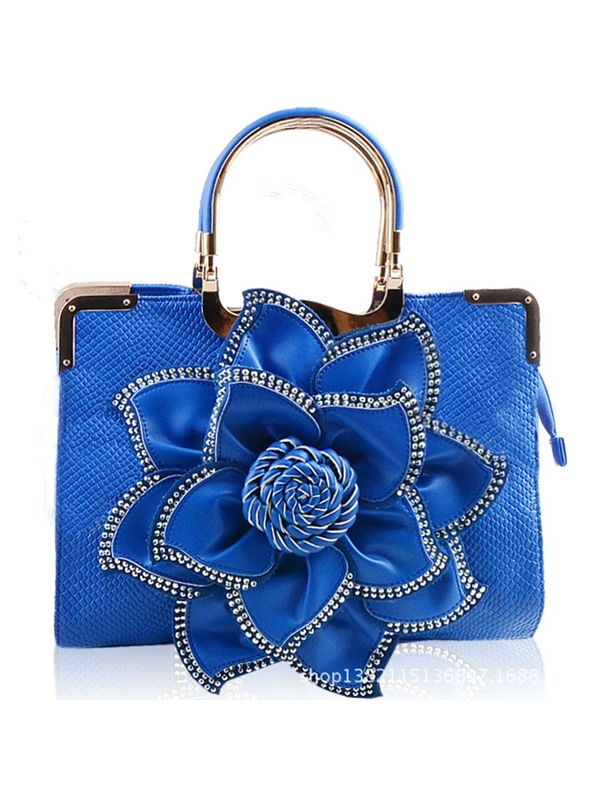 Solid Color Flower Diamond Adornment Satchel