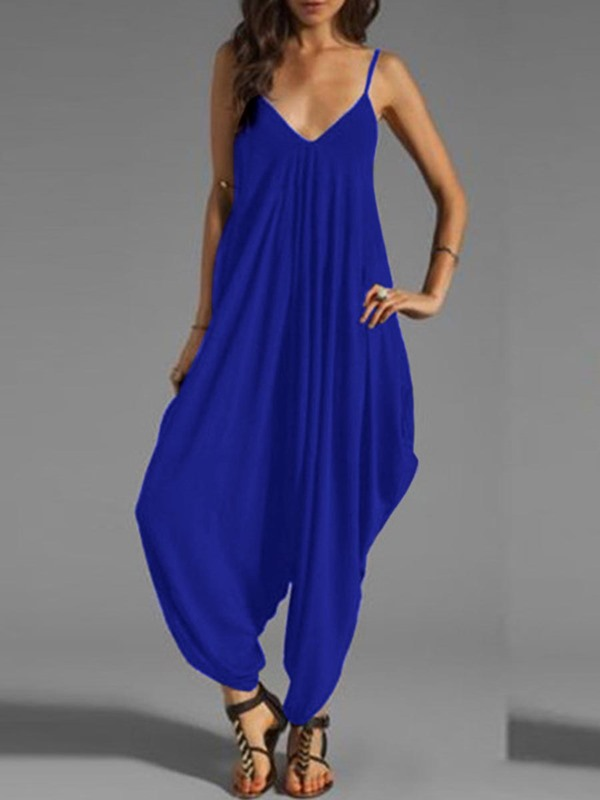 Plain Loose Backless Pleated Jumpsuits