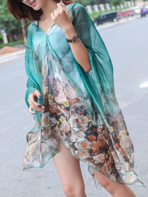 Rectangle Charmeuse Plant Print Hemming Cover-Up