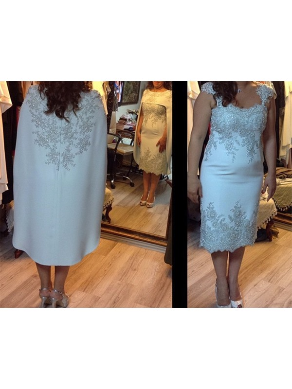 Appliques Tea-Length Mother of the Bride Dress with Jacket