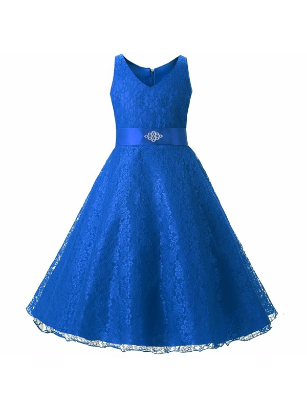 Fancy V-Neck Beaded Sashes Lace Girl's Party Dress