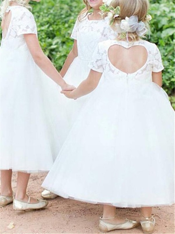 Bateau Neckline Short Sleeves Lace Tea-Length Flower Girl Dress