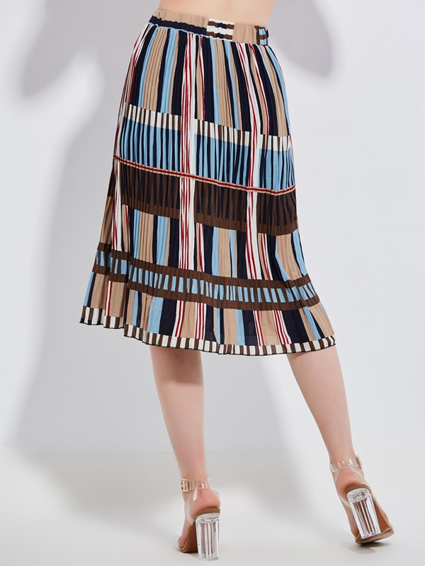 Color Block Stripe Women's Pleated Skirt