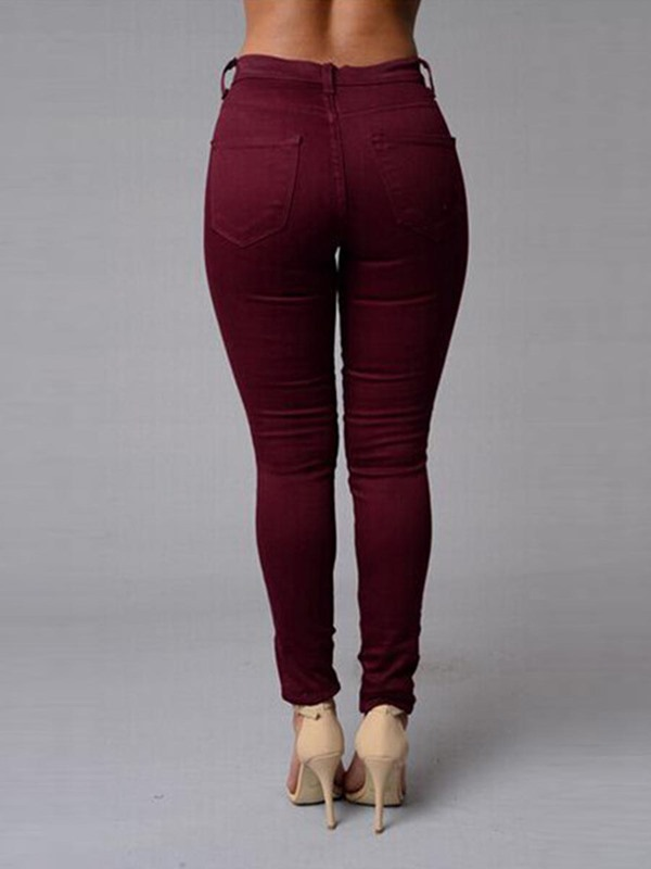 Skinny High-Waist Zipper Washable Jeans