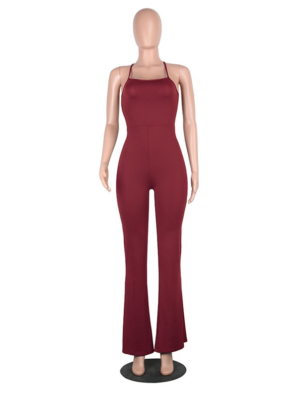 Slim Backless  Lace-Up Wide Legs Jumpsuits