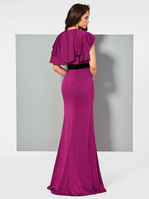 Unique Trumpet Short Sleeves Bowknot Ruffles Sashes Scoop FLoor-Length Evening Dress