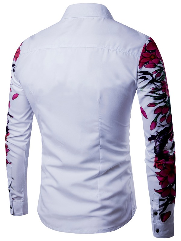 Flower Printed Lapel Floral Plain Slim Men's Shirt