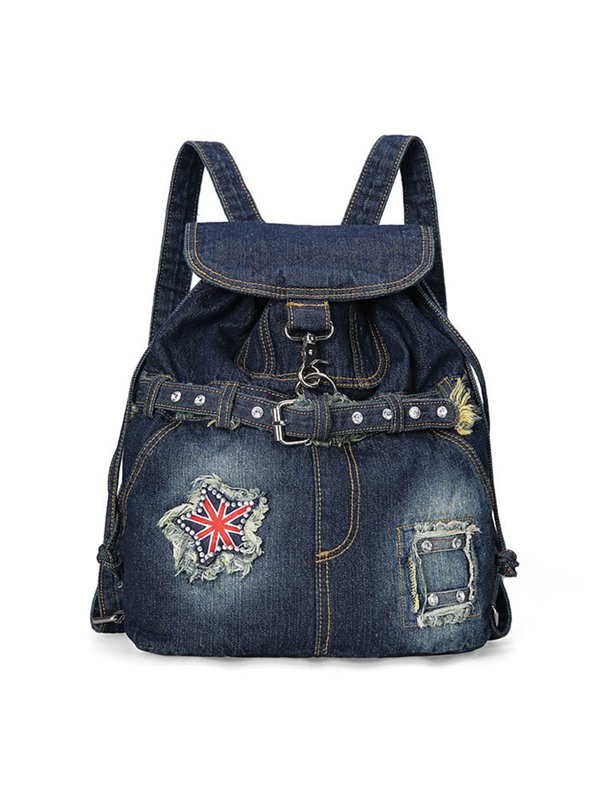 All Match Rivets Draw Denim Backpack