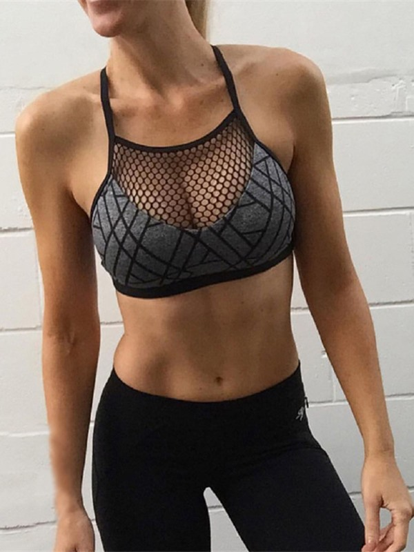 Ventilate Polyester Grid Digital Printed Sports Bra