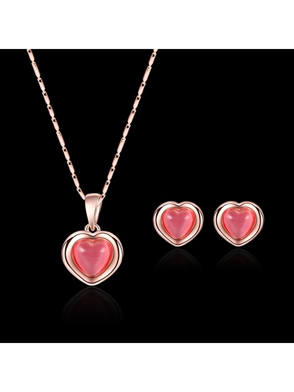 Pink Heart-Shaped Rhinestone Jewelry Sets
