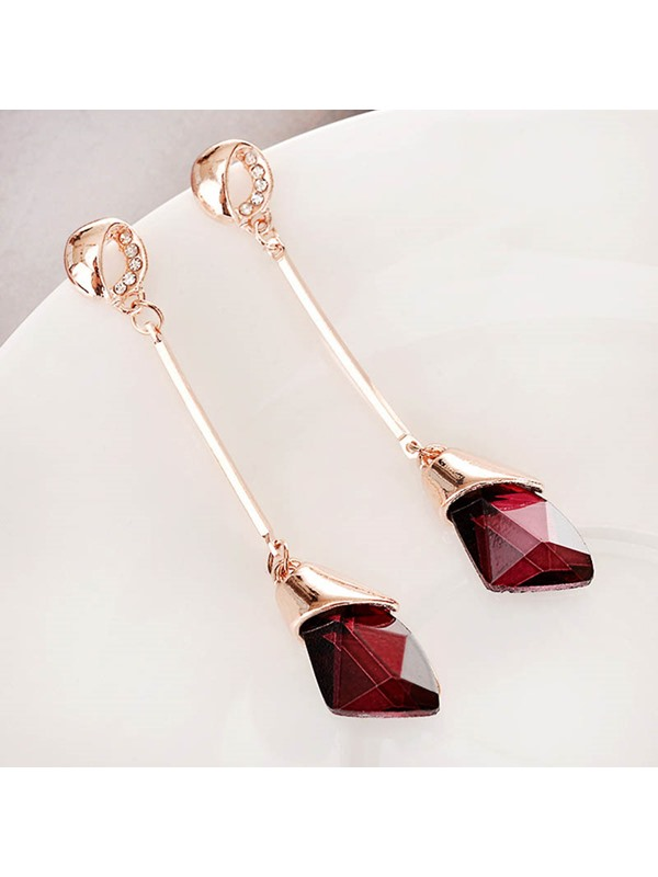 Water Drop Stone Long Tassel Earrings