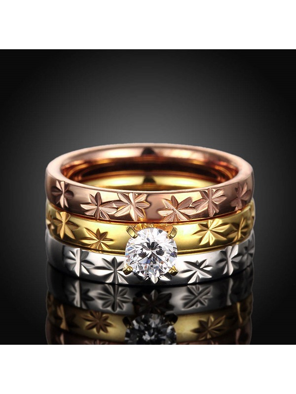 Floral Figure Titanium Diamond-Shaped Three Layers Group Rings